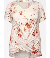 maurices plus size womens 24/7 white floral cut out twisted hem tee