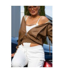 super trendy faux leder jas met ritssluiting bruin