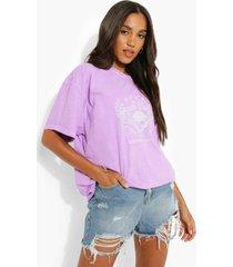 oversized katoenen overdye t-shirt met opdruk, purple