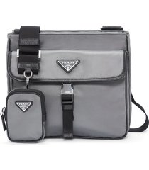 prada logo plaque messenger bag - grey