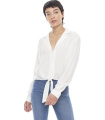 blusa manga larga nudo blanco  corona