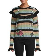 valentino women's stripes wool sweater - black multi - size s