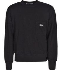 msgm patched logo pocket ribbed sweatshirt