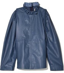 lydia leather blouse in blue