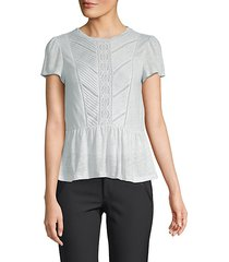 lace-trimmed linen top