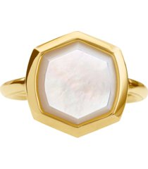 kendra scott 18k gold vermeil mother-of-pearl hexagon statement ring (also in turquoise)