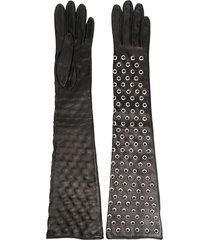 manokhi long eyelet gloves - black