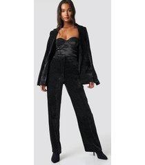 galore x na-kd sparkling velvet pants - black