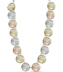 kensie gold-tone, rose gold-tone and silver-tone circle stone necklace