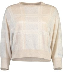 checkered paillette embroidered pullover knit
