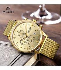 megir fashion wat casual stailess steel mesh b wristwatch ma lumious dress watch