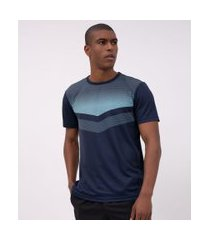 camiseta esportiva manga curta estampada | get over | azul médio | p
