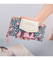 billetera mujeres- cremallera de la borla de la cartera-gris