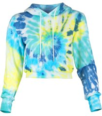 women's afrm mila tie dye crop hoodie, size x-small - blue