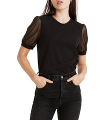 women's madewell sheer sleeve knit top, size medium - black