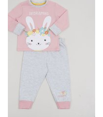 pijama infantil coelho manga longa rosa