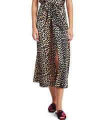 ganni women's silk stretch satin maxi skirt - leopard - size 36 (4)