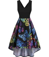 butterfly print scalloped high low midi dress