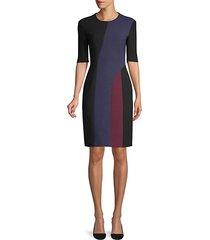 colorblock ponte elbow-sleeve dress
