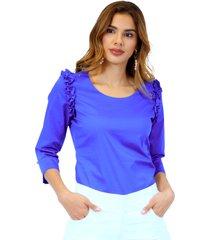 blusa manga 3/4 azul rey unipunto 32277