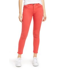 women's jen7 high waist fray hem ankle skinny jeans, size 14 - red