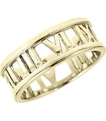 14k gold vermeil roman numeral open band ring