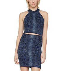 bcbgmaxazria snake-embossed cropped top