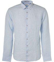 shirt, l/sl, 2 col yarn dyed linen office blue
