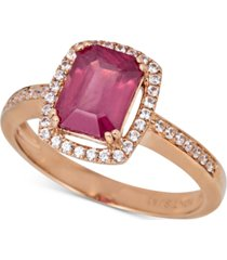 certified ruby (1-1/2 ct. t.w.) & white sapphire (1/5 ct.t.w.) halo ring in 14k rose gold (also in emerald & sapphire)