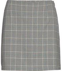 skirt lana check kort kjol grå lindex
