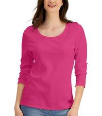 karen scott long sleeve cotton scoop-neckline top, created for macy's
