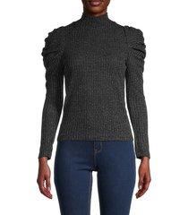 love ady women's turtleneck cotton-blend top - rust - size xs