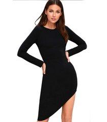 vestido racy modas curto diagonal com manga longa preto