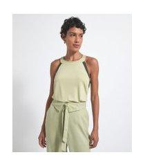 blusa regata com alça fina e detalhe contrastante na cava | marfinno | verde | pp