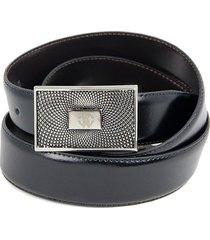 roberto cavalli reversible logo leather belt - black brown - size 32