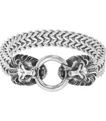 macy's men's twin lion's head double franco link bracelet
