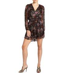 a.l.c. women's esme metallic silk mini dress - brown multi - size 6