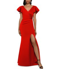 betsy & adam ruffled-sleeve slit scuba gown