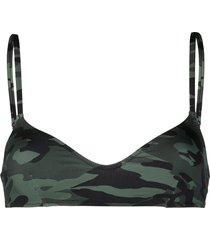 solid & striped camouflage print bikini top - green