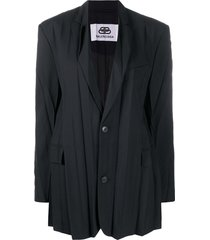 balenciaga plissee pleated jacket - black