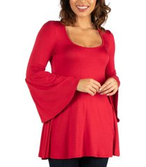women's long bell sleeve flared tunic top