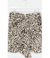 womens wrap over animal print mini skirt - white