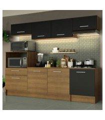 cozinha completa madesa onix 240003 com armario e balcão rustic/preto 5zd8 rustic/preto/rustic