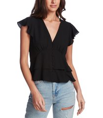 1.state flutter-sleeve button-front blouse