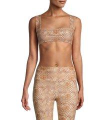 weworewhat women's snakeskin-print bandeau bra top - tan - size xs