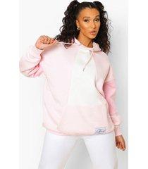 blue official colour block hoodie met label, pink