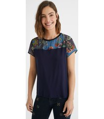 bimaterial t-shirt tulle mandalas - blue - xl