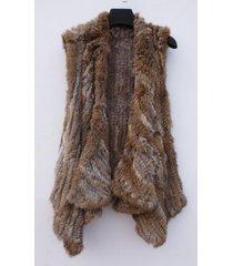 nature brown crochet rabbit fur vest crochet fur vest autumn gilet fur coat 60cm