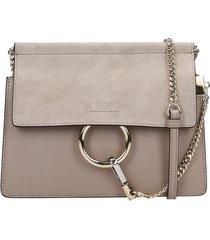 chloé faye mini shoulder bag in grey suede