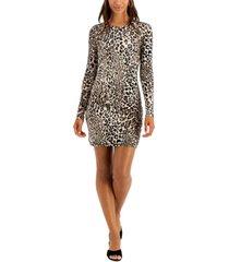 bar iii cheetah-print bodycon mini dress, created for macy's